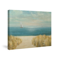 Seascape with Boat Canvas Wall Art