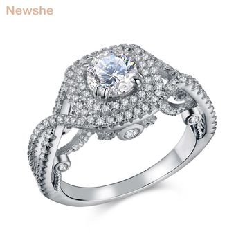 Newshe 2.4 Ct Round CZ Solid 925 Sterling Silver Wedding Ring Classic Jewelry For Women JR4694