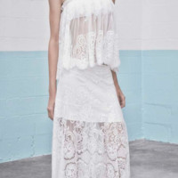 Alexis 'Gorgon White Lace Long Skirt' Skirts | Shop Splash