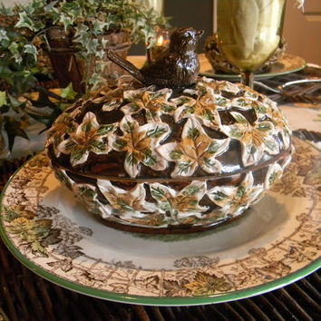 Figural Sparrow Bird Topped Ivy Covered Dish / Candy Bowl / Tureen