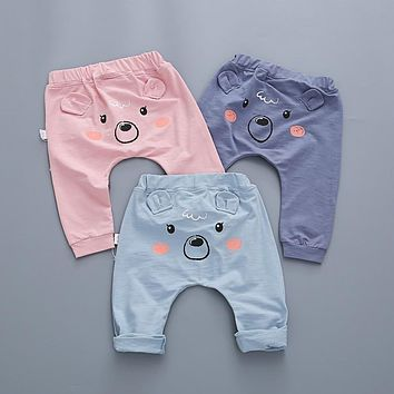 Stereo bear ears girl's bears sweatpants pip boy cartoon cute baby boy pants kids boy's clothing girls leggings free shipping