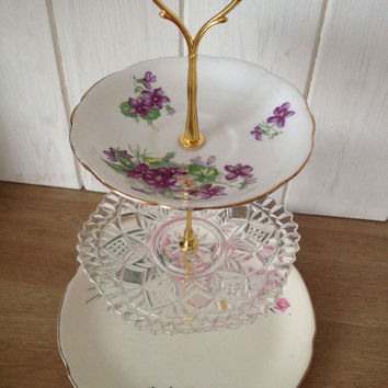Vintage three tier cupcake stand pressed glass and rose antique plate, for afternoon tea party, weddings centerpiece. VBB184