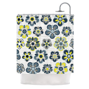 "Jolene Heckman ""Blue Folksy"" Yellow Gray Shower Curtain"
