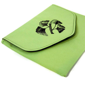 iPad Case Tablet Cover - Ginkgo Embroidery on Green