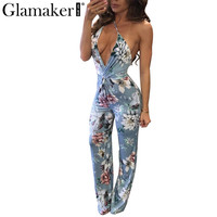 Glamaker Sexy backless floral jumpsuit romper Summer long elegant jumpsuit party Fitness women jumpsuit deep v neck overalls