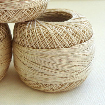 coton yarn 3 balls, fine crochet,50 number,100% mercerized Egyptian cotton,beige,One ball's weight is 20gr