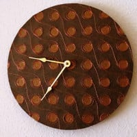 Large Wall Clock, Home Decor, Copper and Brown Clock, Home and Living, Decor and Housewares, Eco Chic Clock,  Wall Clocks, Unique Gift