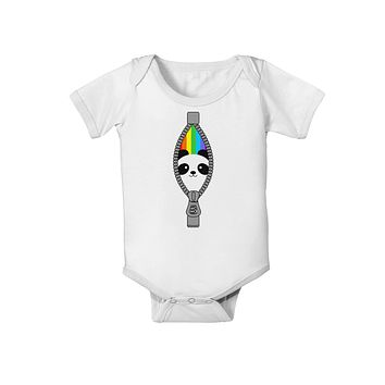 Rainbow Panda Peeking Out of Zipper Baby Romper Bodysuit by TooLoud
