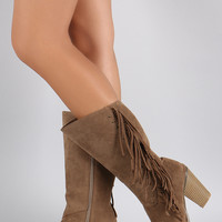 Liliana Suede Studded Fringes Cowgirl Chunky Heeled Mid Calf Boots