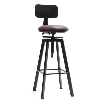 Adjustable Retro Bar Stool Metal Leather Craft Furniture Rotate Cafe Counter Chair Bar Decorations
