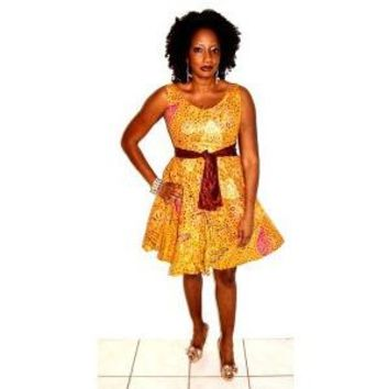 Brown And Gold  African Print Short  Dress