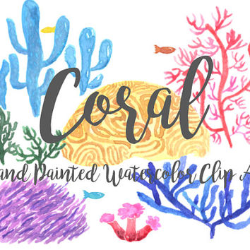 Coral Watercolor Clipart Beach Summer Party Digital File fishes Download decoration digital kids birthday invitation ocean sea