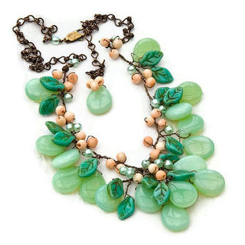 Peach Green Statement Necklace, Bib Necklace, Beaded Necklace, Nature Jewelry