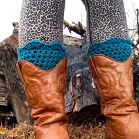 Crochet Boot Cuffs, Smokey Blue