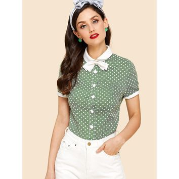 Contrast Cuff And Collar Button Blouse