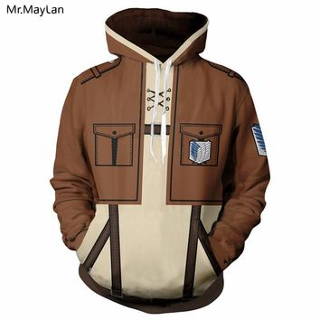 Cool Attack on Titan Anime  Cosplay Print 3D Hoodies Men/Women Pullovers Hat Sweatshirts Coats Jacket Boys Autumn Tracksuits Harajuku AT_90_11