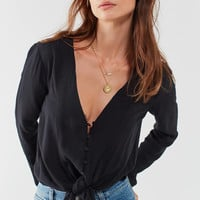 Silence + Noise Tie-Front Button-Down Top | Urban Outfitters