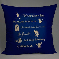 disney peterpanlion king beauty and the beast alladin finding nemo lilo and stich quote pillow case == custom pillow one and two side