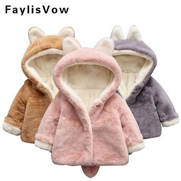 Baby Boys Girls Winter Jackets Infant Warm Faux Fur Fleece Coat Children Parkas Rabbit Ear Hooded Outerwear Kids Thermal Clothes