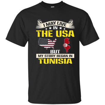 Live In usa - Born In Tunisia Flag Map T-Shirt_Navy