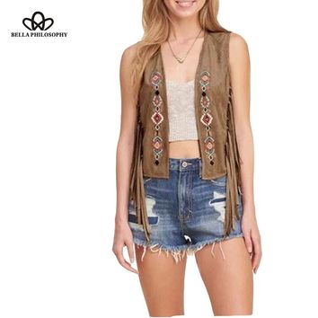 New women's faux suede ethnic floral flower embroidery sleeveless tassels fringed jacket black khaki