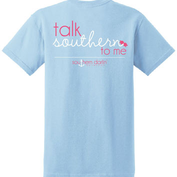 Southern Darlin Talk Southern to Me Bow Funny Country Bright Girlie T-Shirt
