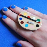 an artist's paint palette ring by alliterations on Etsy