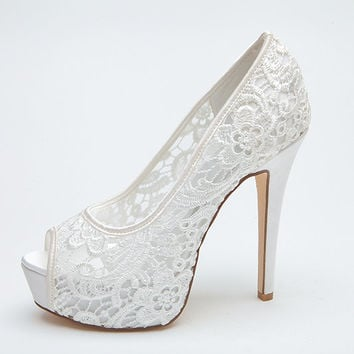 Sexy See Through Lace Bridal Wedding Shoes Platform Peep Open Toe Party Prom Pumps White