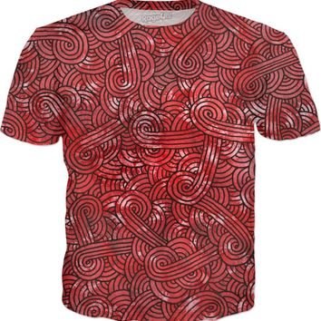 Red and black swirls doodles T-Shirt