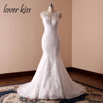 Lover Kiss Vestidos de Noiva Emblematic Mermaid Inspired Wedding Dresses Lace Low Back Bride Gowns for Weddings robe mariage