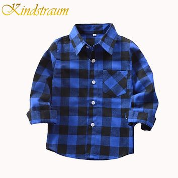 Boys Shirt for Kids Cotton Fashion New Boys Plaid Shirts Long Sleeve Children Clothes