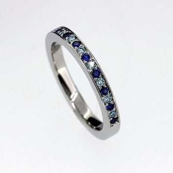 blue sapphire and blue diamond wedding band, white gold ring, half eternity band, blue sapphire, unique wedding, thin, light blue wedding