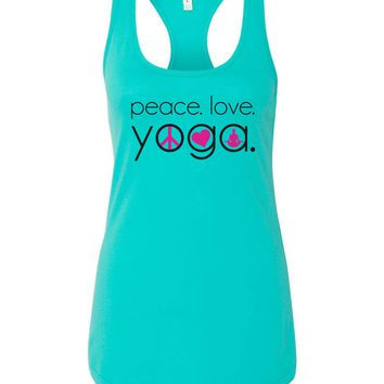 Womens Peace Love Yoga Grapahic Design Fitted Tank Top