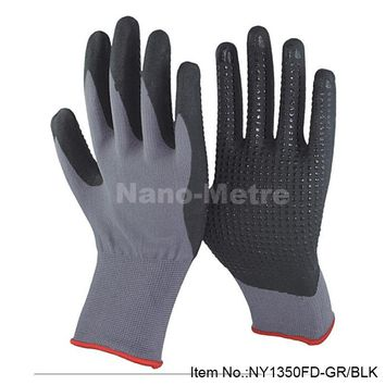 NMSafety 4 pairs nitrile dotted palm foam nitrile general carry protective glove,repair car gloves anti slip oil resistance