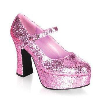 Pleaser Female 4 Inch Heel Single Strap Glitter Finish Mary Jane Shoe MAR50G