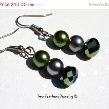 CIJ SALE Green Earrings - Gray Earrings - Beaded Earrings - Bridesmaid Gift - Bridal Jewelry - Prom Jewelry - Gift For Her - Wedding Jewelr