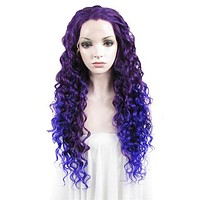 Delphinium Purple Blue Ombre Curly Synthetic Lace Front Wig