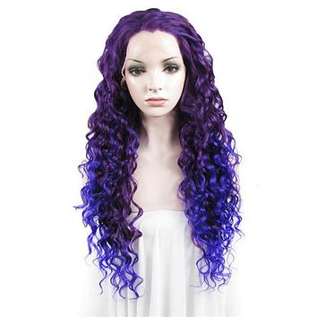 Purple To Blue Ombre Curly Long Synthetic Lace Front Wig