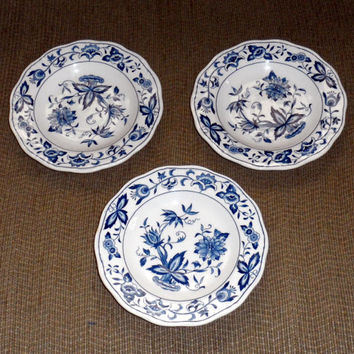 BLUE BONNET Pattern Nikko Ironstone by Harmony House/Japan/1960s/Blue and White/Beautiful Pristine Vintage Condition/3 Saucers/Blue Bonnet