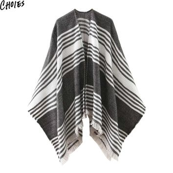 Women 2 Colors Stripe Tassel Fringe Ethnic Style Ponchos And Capes Blanket Scarf  Autumn Fashion Casual Brief Pashmina Wraps