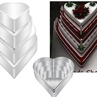"4 Tier Heart Multilayer Wedding Birthday Anniversary Baking Cake Tins Cake Pans 6"" 8"" 10"" 12"" - EUROTINS"