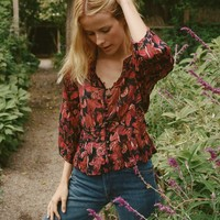 CAMELLIA TOP -- BLACK TROPICAL FLORAL
