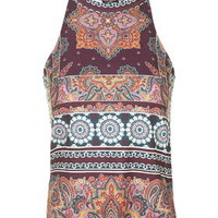 TALL Scarf Print High Neck Top - Multi