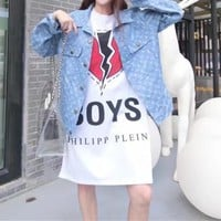 """Louis Vutitton LV×Supreme"" Women Casual Fashion Logo Letter Print Long Sleeve Denim Cardigan Coat"