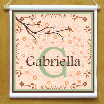Girls Personalized Hanging Monogram Sign Printed Banner with Scroll Border and Cherry Blossom Branch with birds Peach and Brown