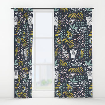 Bohemian Rhapsody Midnight Window Curtains by Heather Dutton