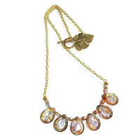 Copper and Gold Crystal Bronze Teardrop Glass Beaded Necklace, 22 Inches