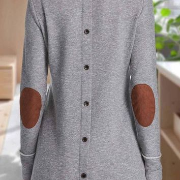 Grey Patchwork Single Breasted Draped Round Neck Long Sleeve T-Shirt