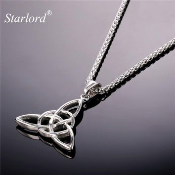 Starlord Celtic Knot Pendant&Necklace Viking Jewelry Stainless Steel/Gold Color Triquetra Chain Necklace Men/Women