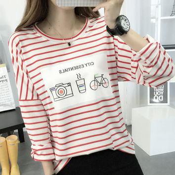New Autumn Winter Women's Casual Loose Straps Long Sleeve T-Shirt Comfortable Tee Gift 193